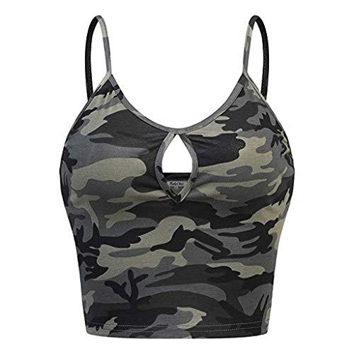 Momoxi Sommer Ärmelloses O-Neck-Trägershirt mit Camouflage-Print für Damen Sleeveless Casual Vest Cami Tank Top Shirt Oberteil Lady-fit Armee grün S -