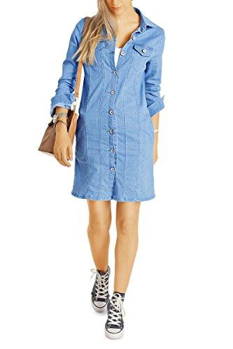 Bestyledberlin Damen Jeans Kleid, Geknöpftes Stretch Jeanskleid, Lange taillierte Jeansjacke, Baumwollkleid t47z 40/L