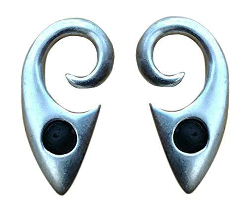 Pesos de oreja de pareja plateados plata con piedra lava - Dos pendientes dilataciones orejas, lóbulos estirados - Earrings Plugs 'LAVA'- Modelo original único hecho por artesano italiano - h 4,8 cm