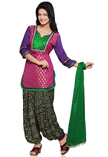 Utsav Fashion Plain Straight Cut Brocade Suit in Pink Colour