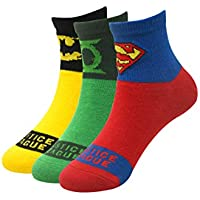 Justice League Unisex-Child Cotton Calf Socks (Pack of 3) (JL-KDM-HA-01_Green_9-12 Years)