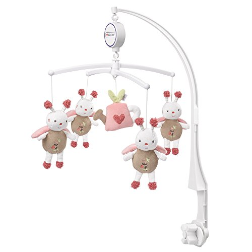 Fehn 068122 Musik Mobile Garden Dreams - Spieluhr-Mobile mit niedlichen Bienen in sanftem Pastell zum Lauschen & Staunen/Zum Befestigen am Bett für Babys von 0-5 Monaten/Höhe: 65 cm, ø 40 cm