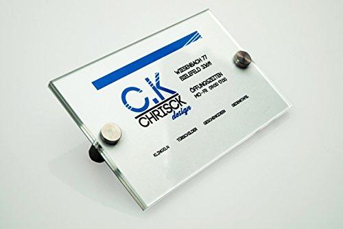 Vetro acrilico/plexiglass XT 2X 2mm Targa Porta Ufficio A Sé Beschriften 150X 210mm con fissaggio in acciaio inox di alta qualità
