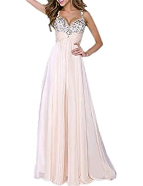 Brautkleid Vintage, Sondereu Maxikleid Elegant Abendkleider Lang Brautjungfernkleid Ballkleid Ärmellos A Linie...