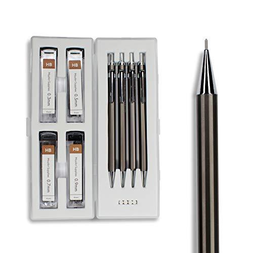 Druckbleistift Set mit Stift Etui Case – 4 Größen: 0,3/0,5/0,7/0,9 mm – jeweils 30x Bleistiftminen und 4x Radiergummis – zum Skizzieren und kreativen Schreiben – MozArt Supplies