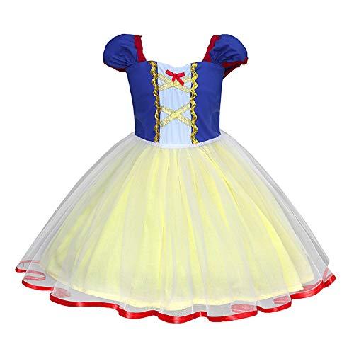CYGGA Schneewittchen Kostüm Prinzessin Kostüm Cosplay Halloween Weihnachten Geburtstag Party Outfit Kinder Karneval Abend Festzug Tüll - Deluxe Schneewittchen Kostüm Kind