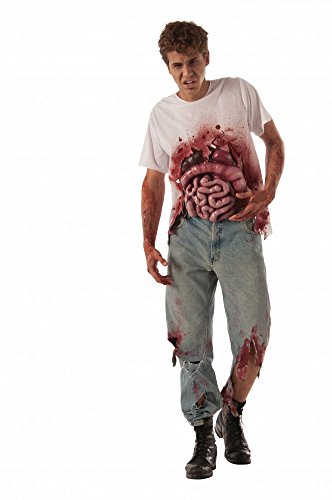 shoperama Men's T-Shirt Blood Spatter and Gedärmen Latex Halloween Zombie Eingeweide Size M/L