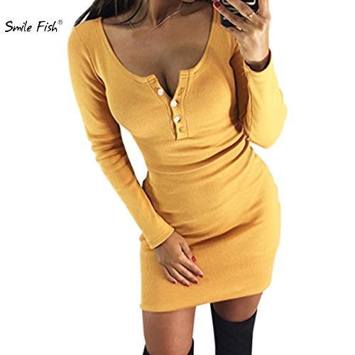 Sisjuly Autumn Winter Bodycon Dress Sexy Club Skinny Button Women Dress Knitted Dress Pencil Package Hip Overall Outfit M0047 Khaki