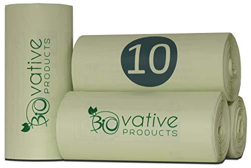 Sacchi per la spazzatura compostabile 10 litri con e senza maniglia - 100 sacchetti organici antistrappo e tenuta - 100% compostabili e biodegradabili - sacchetti per rifiuti organici da 10l