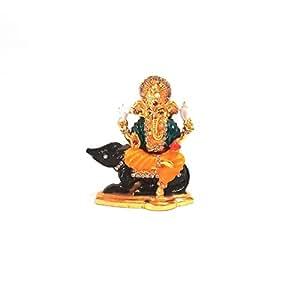 Cartel Enterprises Ganesha Multicolor Idol - Metal (7.8 cm x 3 cm x 6.6 cm)