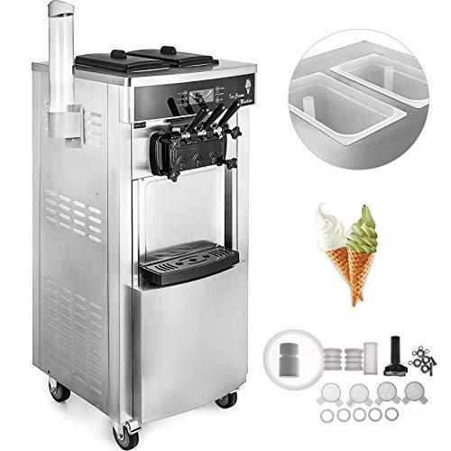 BuoQua Speiseeisbereiter Stehende Kommerzielle Softeismaschine Eismaschine Ice Cream maker 220V Edelstahl Maschine mit Eikegel