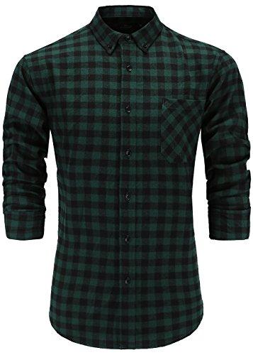 Emiqude Herren 100% Flanell Baumwolle Casual Slim fit Lange Ärmel Knopf Down Plaid Hemd Shirt Large Grün Schwarz -