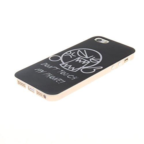 Apple iPhone SE/5S/5 Silicone Coque - Felfy Ultra Mince Flexible Souple Soft Gel Case Cover Coque Housse Coloré Cute Motifs Retro Protection TPU Transparent frontière Case Cover pour Apple iPhone SE/5 DON'T TOUCH MY PHONE!