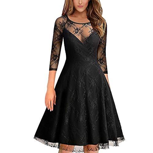 (ModaworldFrauen Vintage Princess Lace Cocktail V-Ausschnitt Party Aline Swing Kleid ärmellos Sommerkleid Sleeveless Kleid Strandkleider Partykleid Abendkleid Minikleid)