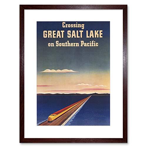 TRAVEL RAIL TRAIN CROSSING GREAT SALT LAKE SOUTHERN PACIFIC ART PRINT B12X1672