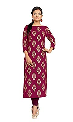 Ziyaa Dark Pink Colour Boat Neck With 3/4 Sleeve Faux Crepe Foil Print Kurti - Metallic AVAILABLE SIZES:S,M,L,XL,XXL