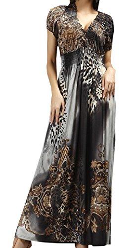 Topsone Sommer Damen Kleid Fashion Boho Leopard Print Lang Kleider Strandkleider Abendkleider Sexy V Schnitt Kurzarm Eis Seide Maxikleid Partykleider (Sexy Leoparden-print Kleid)