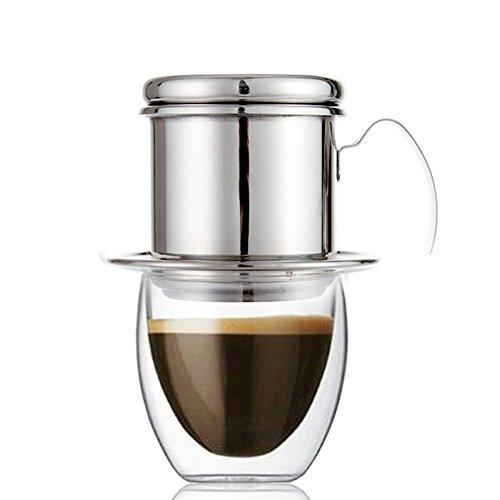 MIRX Drip Kaffee Topf, Clever Coffee Dripper mit Edelstahl Tragbar Kaffee Tropfer Cafe Latte Filter Cup Espresso Coffee Drip Maker papierlosen Vietname Coffee Drip Filter für Büro, Zuhause, Outdoor 5 Cup Drip Coffee Maker
