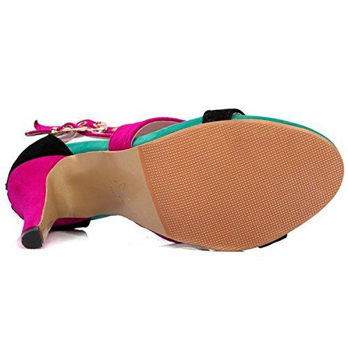 Oasap Women's Peep Toe Patchwork Stiletto Heels High Top Sandals Red