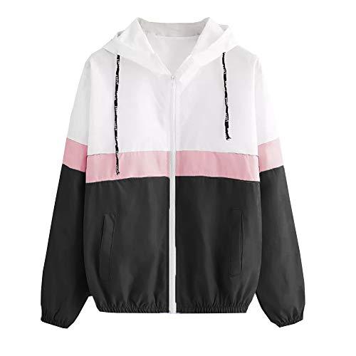 Dragon868 Damen Mode Langarm Pocket Strickjacke Skin Suits mit Kapuze Reißverschluss Taschen Sport Mantel Bluse Jacke -
