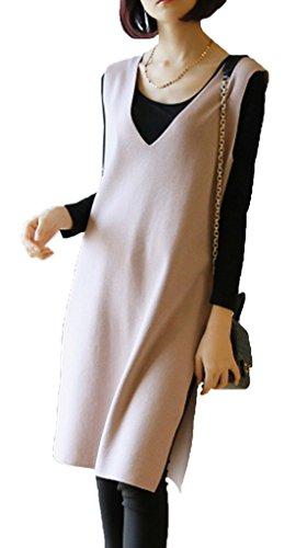 Smile YKK Pull Sans Manche Femme Gilet Col V Veste Robe Tricot Haut Automne Hiver Abricot