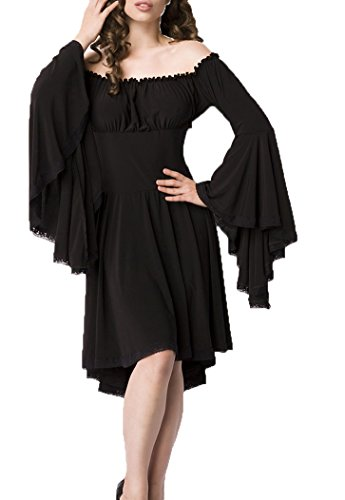 Schwarzes Piraten Kleid Kostüm - Schwarzes Mittelalter Kleid aus Jersey mit Trompetenärmeln und Carmenausschnitt Spitzenbesatz Mittelalteroutfit mit Raffung Piraten XL