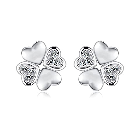 FANSING Jewellery 925 Sterling Silver Heart Clover Love Stud Earrings