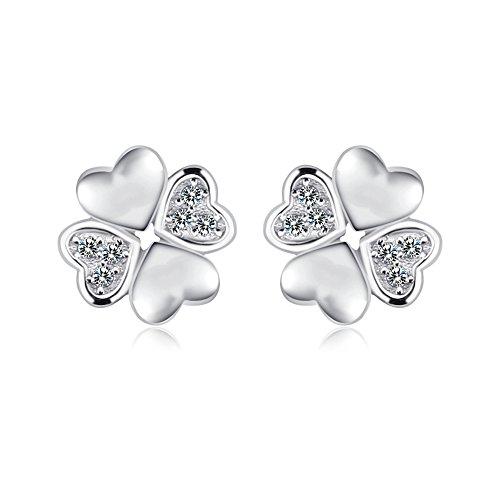FANSING Schmuck 925 Sterling Silber Klee Herz Liebe Ohrstecker Ohrringe für Damen Mädchen (Verkauf Engel Flügel Schwarze Zum)