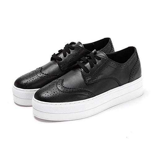 Primavera intagliato scarpe piattaforma/Casual scarpe da donna in pizzo Nero