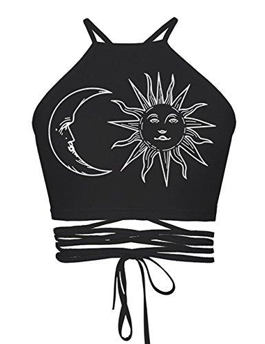 Baymate Sangles Pendaison Cou Tops Débardeurs Femmes - Bustier Bra Vest Crop Top T-Shirt Imprimée Style 9