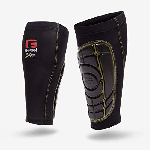 G-Form Pro-S Elite Schienbeinschoner (Herren/Damen) für Fußball, Kickboxen und Kampfsport, Inliner, Skateboard, mit erweitertem Schlagschutz und verbesserter Flexibilität - Schwarz und Gelb - Größe L