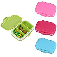 Amasawa 4 Pieces Pill Box Plastic Mini with 3 Lattice for Travel and Daily Use Waterproof Pill Box (Pink, Green, Blue, Red)