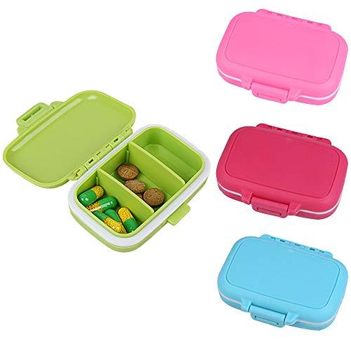 Amasawa 4 Stück klein Pill Box Kunststoff Mini with 3 Gitter for Travel and Daily Use Waterproof Pill Box (Rosa, Grün, Blau, Rot)