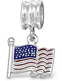 So Chic Joyas - Abalorio Charm bandera americana EE.UU. Esmalte - Compatible con Pandora, Trollbeads, Chamilia, Biagi - Plata 925