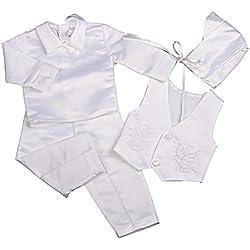 Lito Angels - Ropa de Bautizo - para bebé niño Blanco White (Long Sleeves) 6 Mes