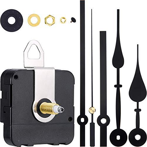 Queta Quarz-Uhrwerk,Quarz Uhrwerk Lange Spindel mit 2 Zeiger-Sets für DIY Wanduhr Reparatursatz (Schwarz)