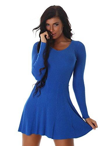 24brands Damen Kleid Feinripp Strickkleid langarm Minikleid mit Volants ausgestellt - 3172 Modell 1 Royalblau