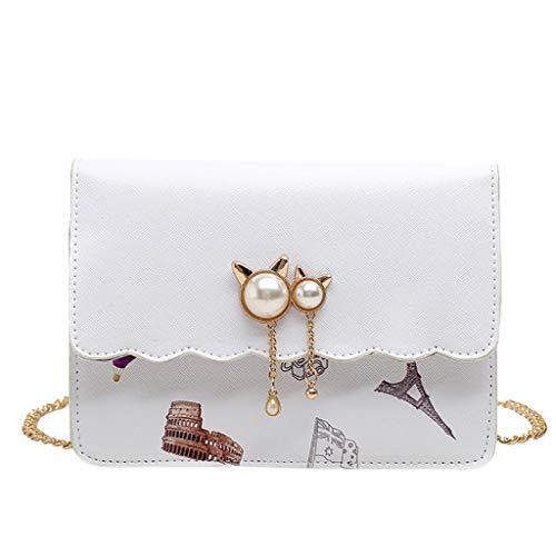NMERWT Damen Umhängetasche Kette Pearl Small Square Bag Casual Wild Schultertasche Elegant Retro Tasche Kette Handtasche