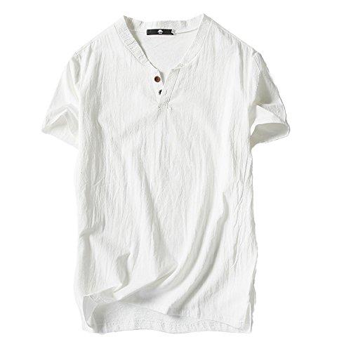 UFACE Herren Solide Baumwolle Leinen Yoga Bluse Langarm, Herren Sommer T-Shirt Baumwolle Leinen Thai Hippie Shirt V-Ausschnitt Strand Yoga Top Bluse t-Shirt Herren weiß t-Shirt Herren v-Ausschnitt -