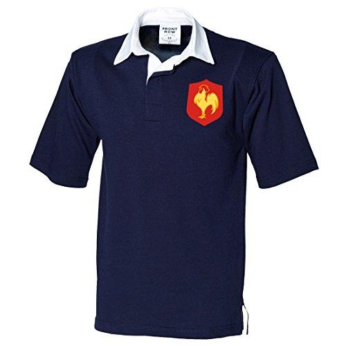 Traditionelles kurzärmeliges Frankreich-Rugby-Shirt für Herren in Marineblau/Weiß, Stickerei-Logo zeigt den französischen Hahn, von Print Me A Shirt Gr. X-Large, NAVY-AND-WHITE
