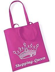 Baumwollbeutel TASCHE Bag - Shopping-Queen pink - witziger Spruch (lange Henkel)