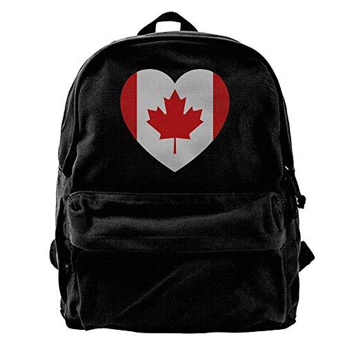 Rucksäcke, Daypacks,Taschen, Unisex Classic Canvas Backpack Canada Heart Unique Print Style,Fits 14 Inch Laptop,Durable,Black