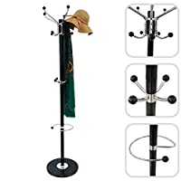 Todeco - Coat rack, Coat and hat stand - Size: 14.5 x 14.5 x 69.3 inch - Base diameter: 13 inch - Black