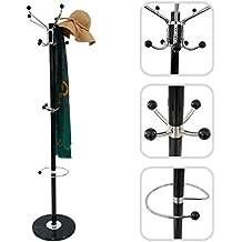 Todeco - Perchero, Abrigo y el Sombrero Soporte - tamaño: 36.8 x 36.8 x 176.0 cm - Diámetro de la base: 33.0 cm - Negro