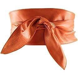 histoireDaccessoires - Cinturón de Cuero de Mujer - CE096714-G-OE-Georgia - Naranja, T85