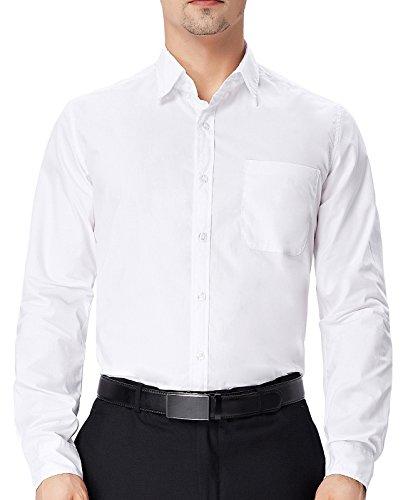 - Knopf-manschette-button-down-hemd (Einfarbig Hemd Herren Weiß Elegant Hemd Button Down Kragen M PJ0056-3)