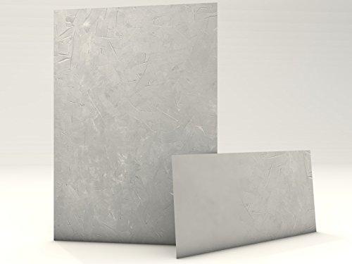 Motivpapier Set mit Umschlag Struktur Grau 20 Blatt A4 und 20 passende Kuverts