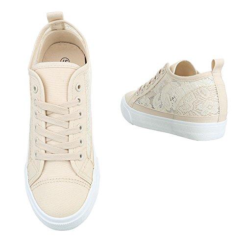 Low-Top Sneaker Damenschuhe Low-Top Keilabsatz/ Wedge Keilabsatz Schnürsenkel Ital-Design Freizeitschuhe Beige