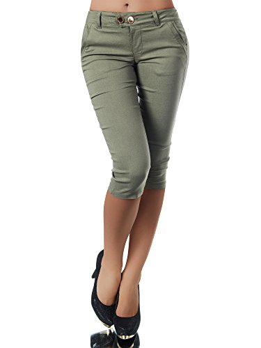 Diva-Jeans Damen Caprihose Treggings Leggings Stoffhose Sommerhose Knielang 3/4 Capri N827, Größen:XXL, Farben:Khaki Denim Khaki Capris