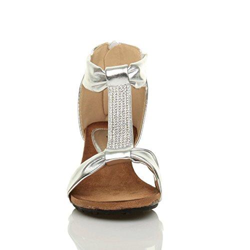Damen Mittel Keilabsatz T-Riemen T-Spangen Reißverschluss Strass Sommer Sandalen Größe Silber